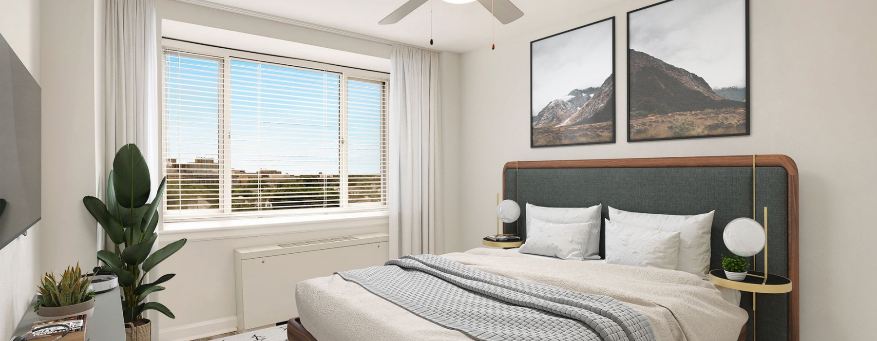 Bright Bedroom with Large window