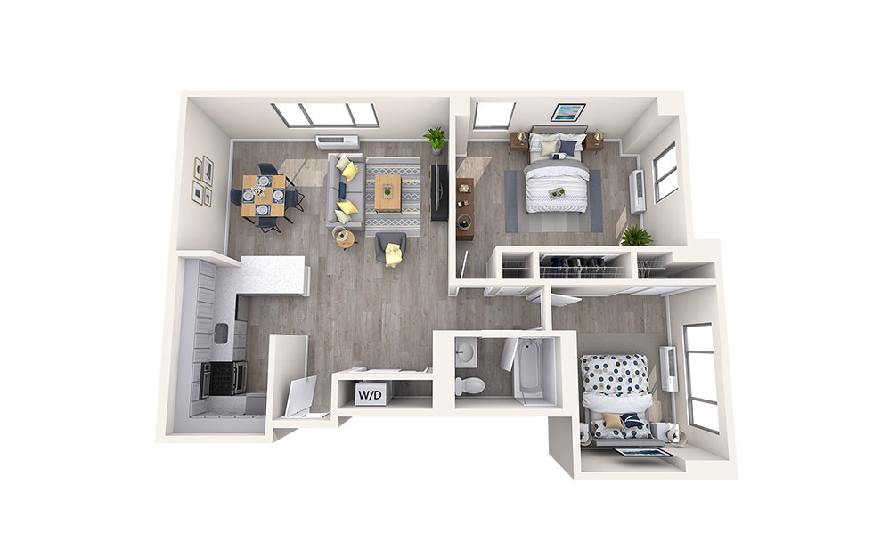 B1 - 2 bedroom floorplan layout with 1 bath and 879 square feet.