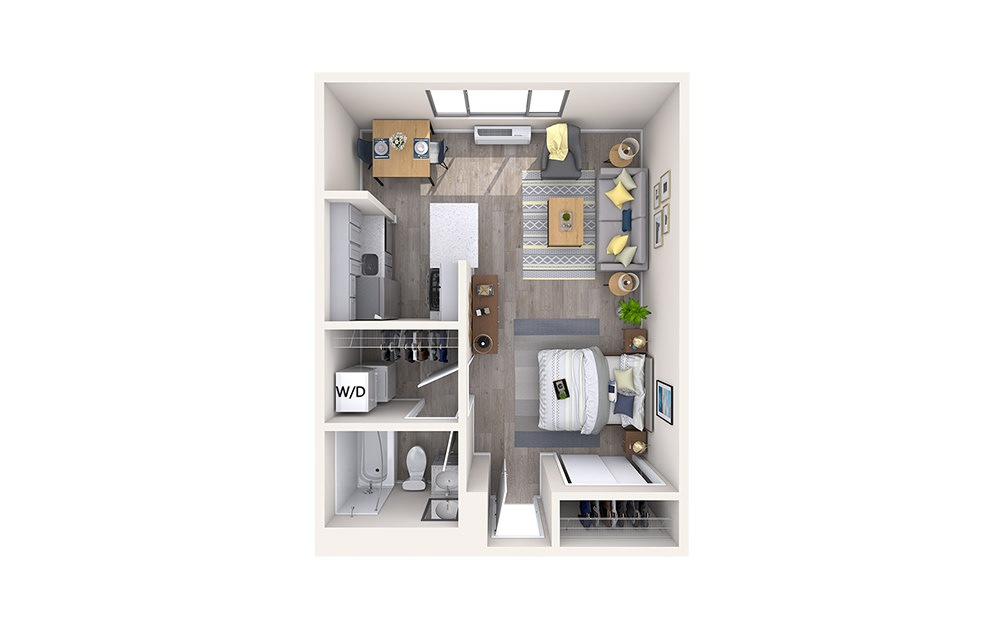 S1 - Studio floorplan layout with 1 bath and 439 square feet.